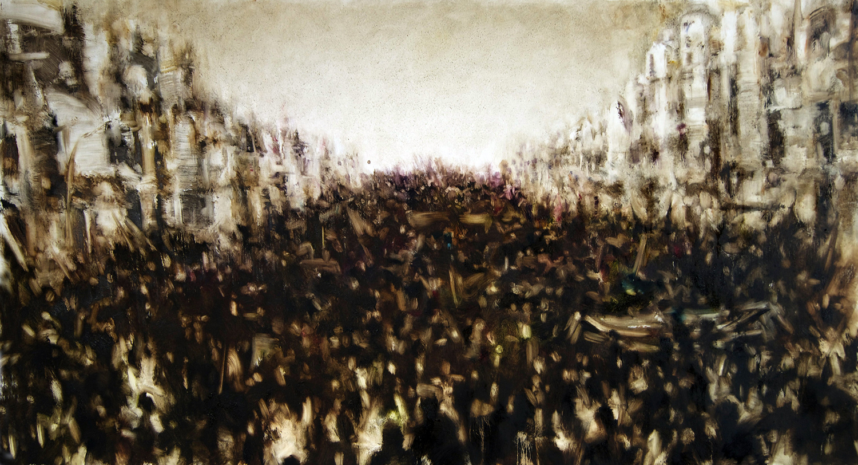 Marcha07_02_13, óleo s: tela 127 x 70 cms